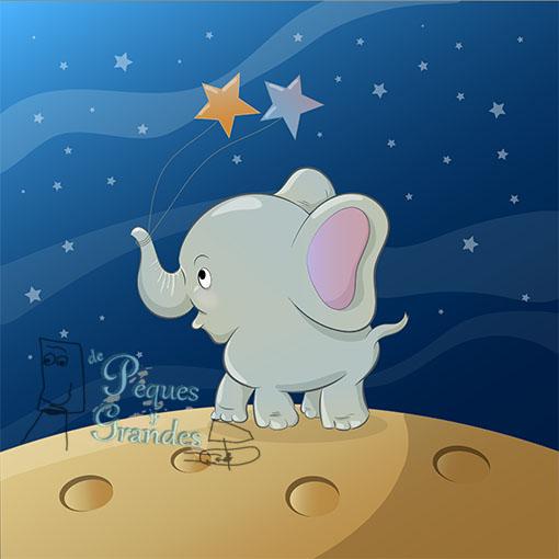dibujo vectorial de elefante paseando por la luna