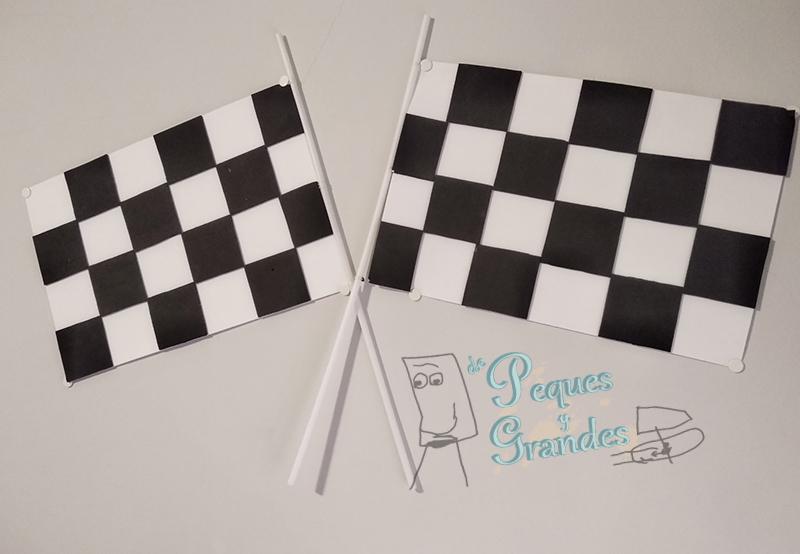 banderas de fórmula uno en goma eva terminadas