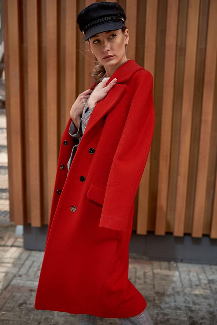 Пальто на запахе красное DE palce