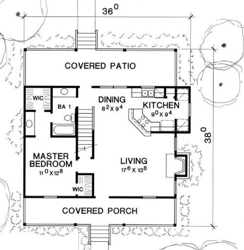 plano planta baja casa de 2 pisos y 3 habitaciones