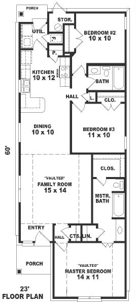 plano casa de 1 piso y 3 habitaciones