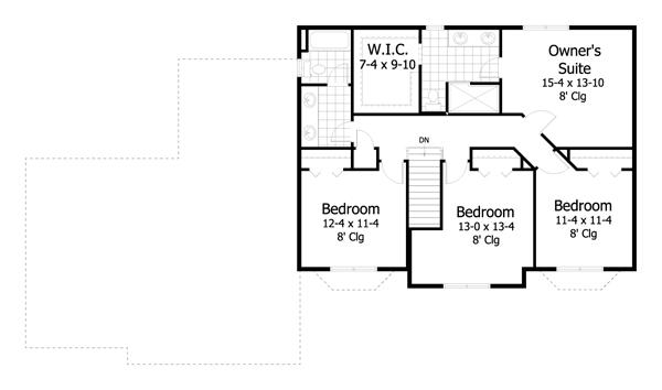plano planta alta casa de 2 pisos y 4 habitaciones