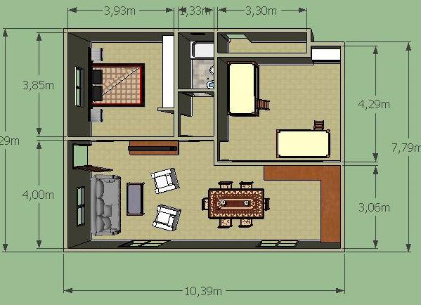 Casa De Campo De Un Piso Y Dos Habitaciones Planos De