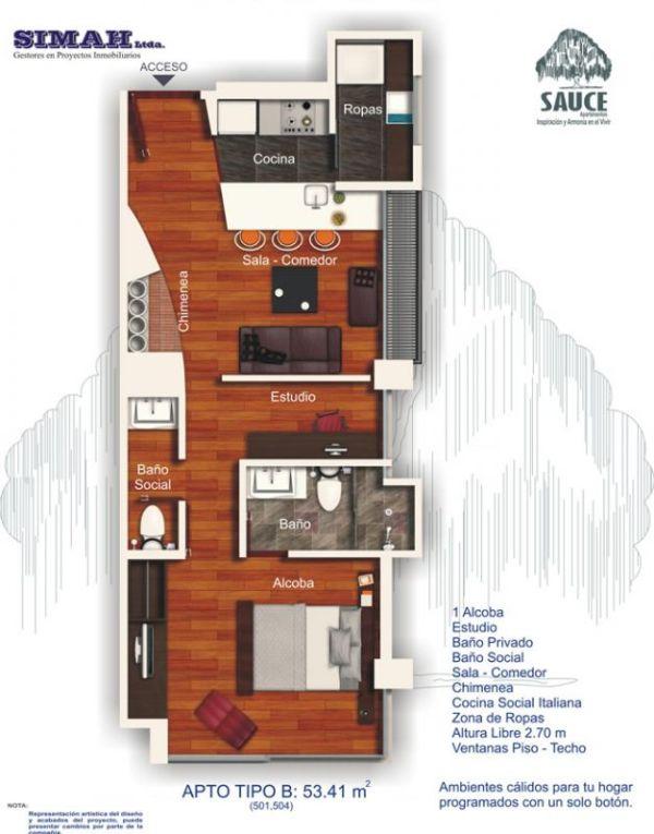 Departamento de un dormitorio y 53 metros cuadrados planos for Plano departamento 2 dormitorios