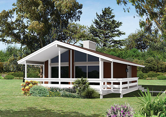Casa de campo moderna de dos dormitorios y 74 metros cuadrados
