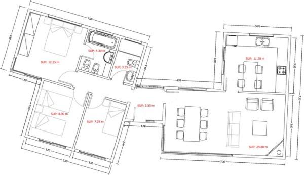 Casa de 3 dormitorios y 90 metros cuadrados planos de for Comedor 20 metros cuadrados