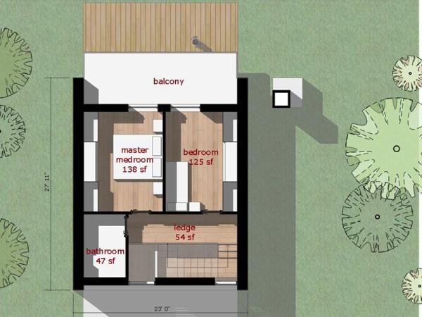 Moderna casa de dos pisos dos dormitorios y 66 metros for Casa minimalista una planta