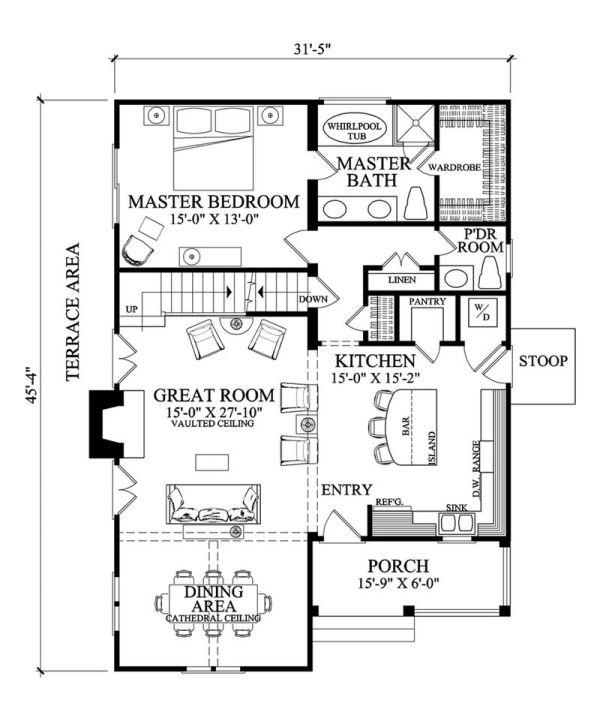 Casa americana de tres dormitorios y 164 metros cuadrados - Bano 3 metros cuadrados ...