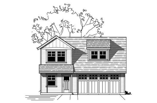 Pequeña casa de dos plantas de 74 metros cuadrados con garaje grande