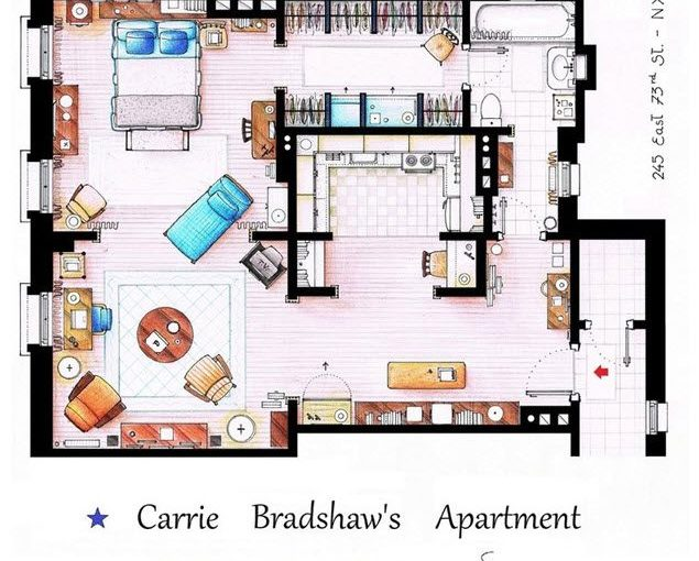 Plano del departamento de Carrie, de la sitcom Sex on the City