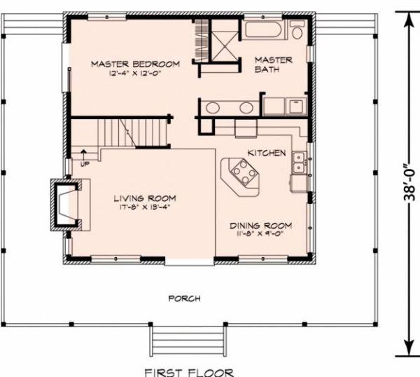 Peque a casa de campo de dos plantas tres dormitorios y for Plano oficina pequena