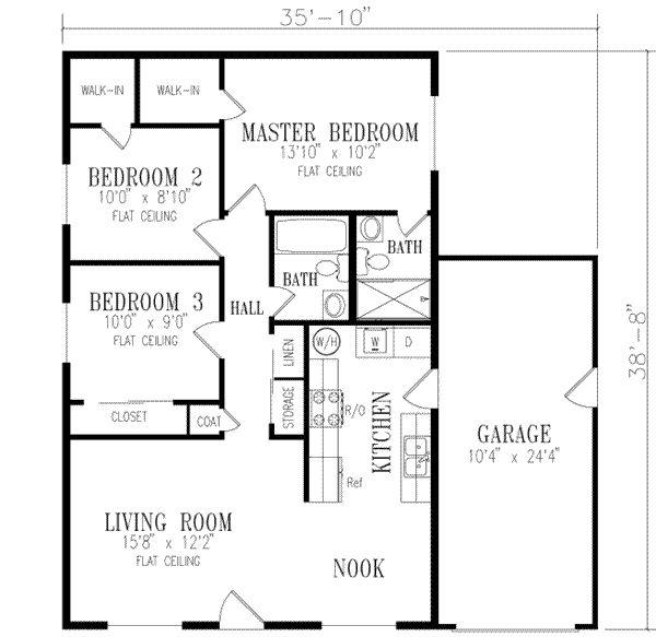 Peque a casa de una planta tres dormitorios y 90 metros for Como decorar un piso de 90 metros cuadrados