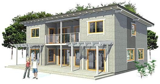 Casa moderna en 3d de dos pisos tres dormitorios y 179 for Planos de casas de 2 pisos y 3 dormitorios