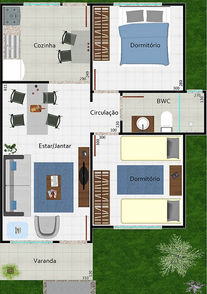 planos de casas una planta dos dormitorios