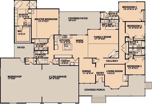 Gran casa americana de una planta cuatro dormitorios y for Casas americanas planos