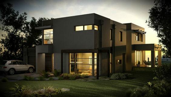 Casa moderna grande de dos plantas cuatro dormitorios y for Casas modernas imagenes y planos
