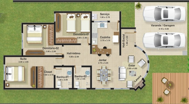 Casa de una planta tres dormitorios y 111 metros Planos de casas de 200m2