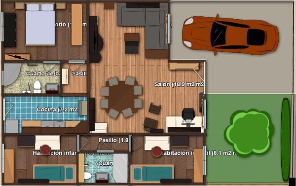 Plano propio en 3d de casa de una planta tres dormitorios for Diseno para casa de 90 metros cuadrados