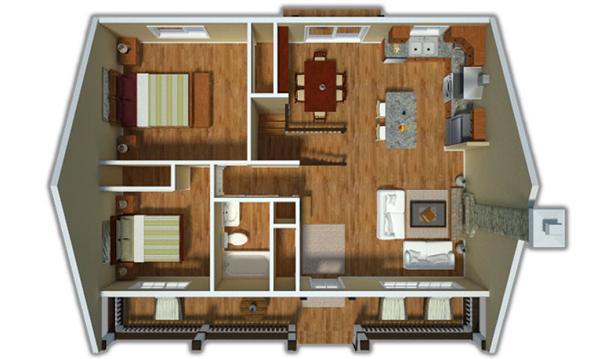 plano en 3D casa de dos dormitorios