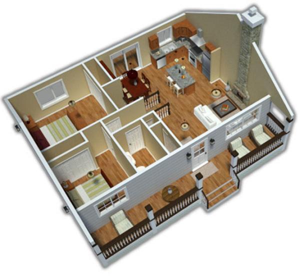 vista en perspectiva casa de dos dormitorios