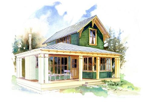 Plano de casa pequeña de dos plantas y 72 metros cuadrados