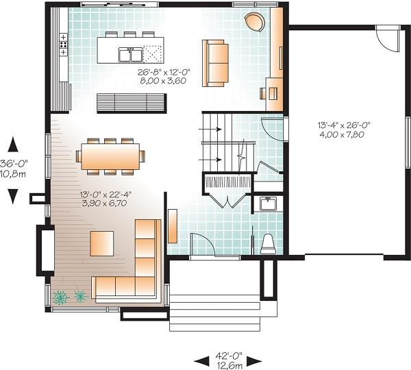 plano planta baja casa moderna de dos plantas y tres dormitorios