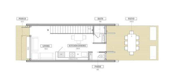 plano planta baja Casa de dos plantas y 62 metros cuadrados