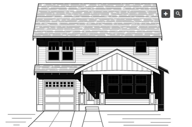 Plano de linda casa de dos plantas, tres dormitorios y 167 metros cuadrados