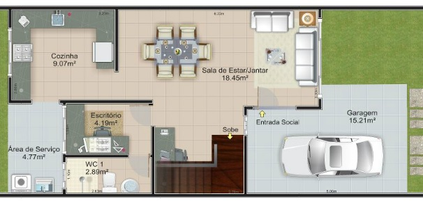 Plano de casa angosta de dos pisos tres dormitorios y 75 for Escaleras 15 metros