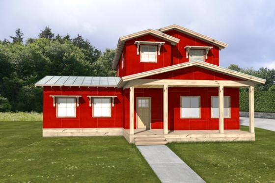 Plano de casa grande de dos pisos, tres dormitorios y 192 metros cuadrados