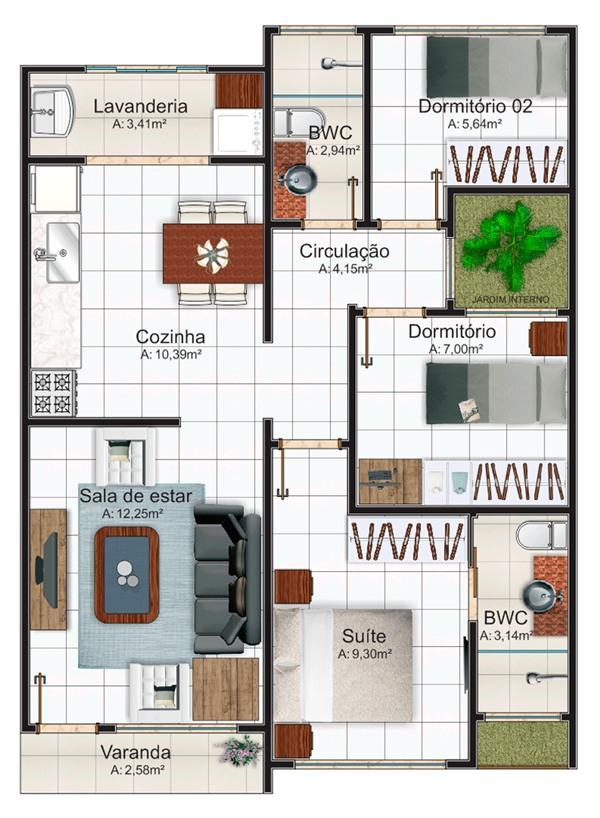 Plano de peque a casa moderna de tres dormitorios y 69 for Casa moderna 50 metros cuadrados