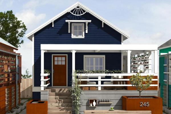 Plano de casa bonita de una planta, dos dormitorios y 83 metros cuadrados