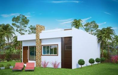 Plano de pequeña casa moderna de tres dormitorios y 69 metros cuadrados Planos de Casas Gratis dePlanos Com