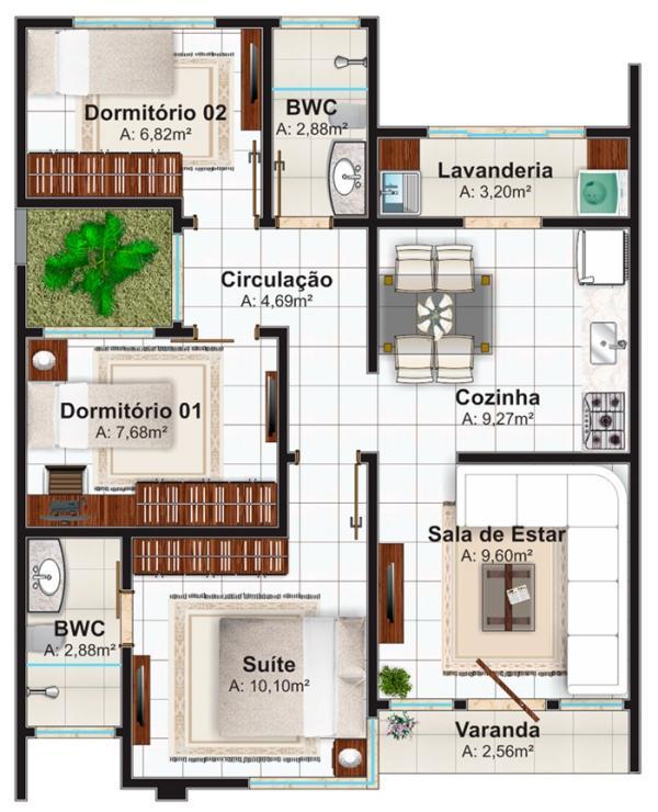 Plano de casa moderna economica de 3 dormitorios y 70 - Habitaciones para tres ...