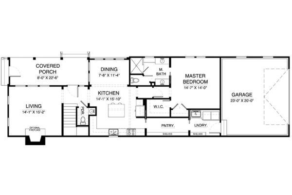 Plano planta baja casa colonial de tres habitaciones