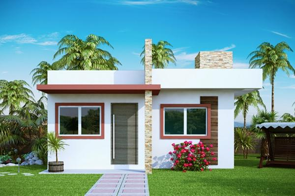 Plano de casas economica de dos dormitorios y 53 metros for Casa minimalista 80 metros