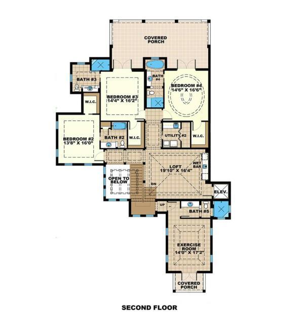 Plano planta alta mansion de cuatro dormitorios