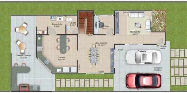 plano planta baja casa de dos pisos y tres dormitorios