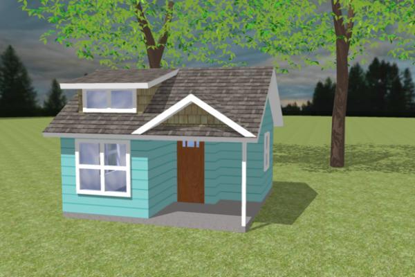 Plano de cabaña de un dormitorio y 19 metros cudrados