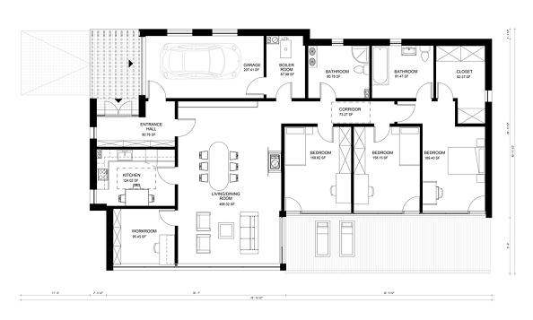 Plano de casa moderna de un piso tres dormitorios y 176 for Planos de viviendas modernas