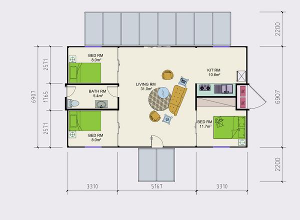 plano de casa de tres dormitorios con dos containers de pies