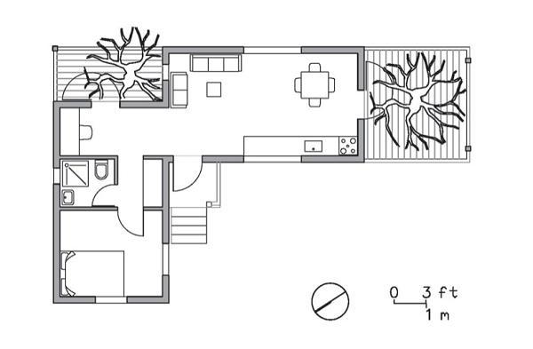 Plano de casa de un dormitorio con contenedores maritimos