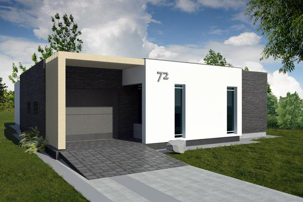 plano de casa moderna de un piso tres dormitorios y metros cuadrados