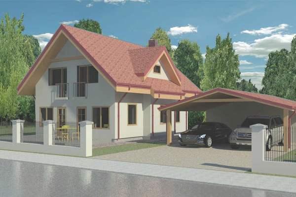 Casa compacta de dos plantas, tres dormitorios y 141 metros cuadrados