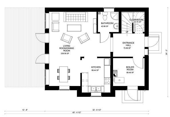 Plano planta baja Casa de dos plantas y tres dormitorios