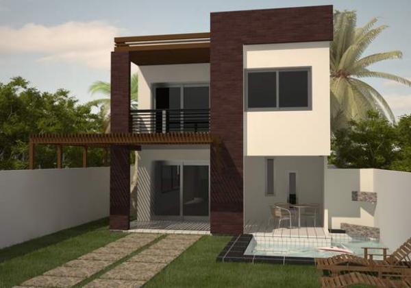 Plano de casa moderna de dos plantas tres dormitorios y 156 metros