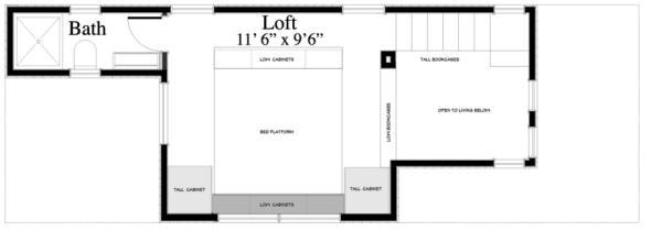 üst kat planı İki katlı ve iki yatak odalı sahil evi