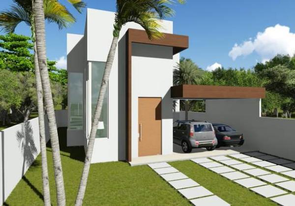 Plano moderno de casa de dos plantas, cuatro dormitorios y 209 metros cuadrados