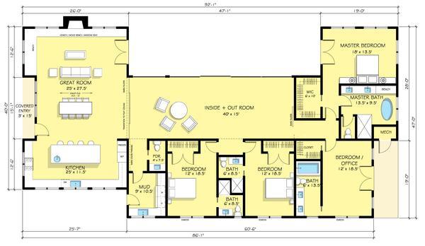 4 yatak odalı büyük bir ev planlayın