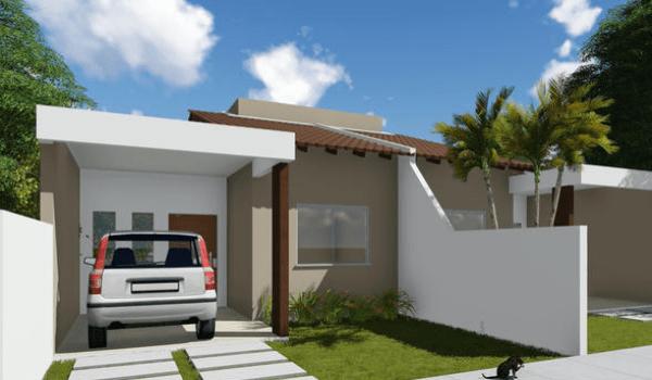 Plano económico de casa de una planta, dos dormitorios y 84 metros cuadrados